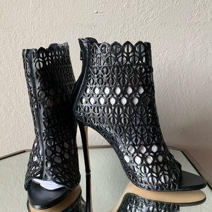 Zara Leather Black Heels w/ Laster Cut Out Design